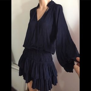SzS-M stunning silk-like ruffle dress